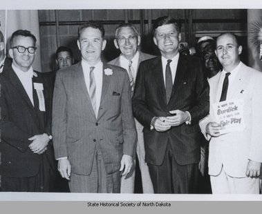 Myron Bright and Sen. Quentin Burdick with JFK.