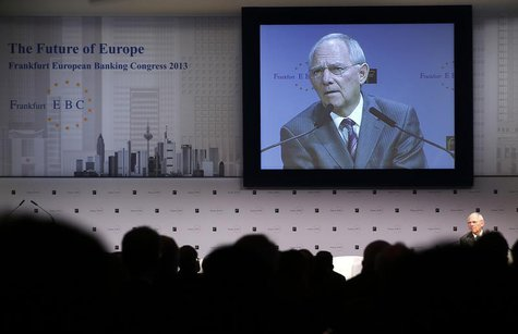 Germany's Finance Minister Wolfgang Schaeuble delivers his speech at the European Banking Congress at the old opera house in Frankfurt, Nove