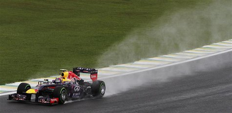 Red Bull Formula One driver Mark Webber of Australia drives during the third practice session of the Brazilian F1 Grand Prix at the Interlag