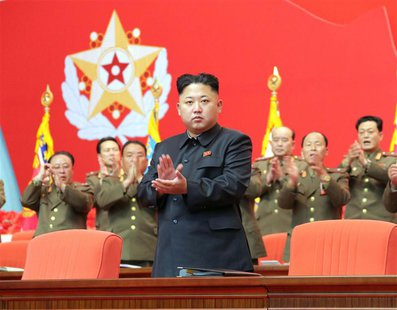 North Korean leader Kim Jong Un applauds during the second meeting of security personnel of the Korean People's Army (KPA) at April 25 House