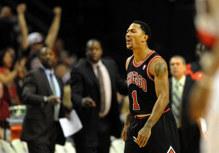 Nov 22, 2013; Portland, OR, USA; Chicago Bulls point guard Derrick Rose (1) yells at the officials and is given a technical foul during the