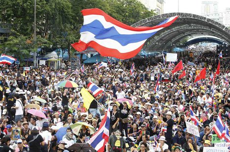 Anti-government protesters gather to demonstrate against the government-backed amnesty bill at the Democracy monument in central Bangkok Nov