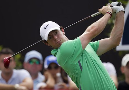 Rory McIlroy of Northern Ireland drives the ball on the second hole during the third round of the DP World Tour Championship in Dubai Novemb
