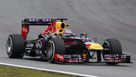Red Bull Formula One driver Sebastian Vettel of Germany drives during the Brazilian F1 Grand Prix at the Interlagos circuit in Sao Paulo Nov