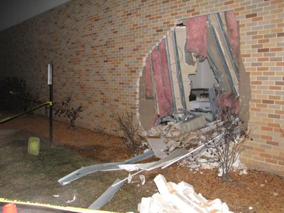 Riverview Hospital damage from car hitting wall at Emergency Department
