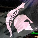Michigan State Spartans flag with logo
