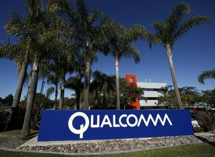 A Qualcomm sign is seen at one of Qualcomm's numerous buildings located on its San Diego Campus February 7, 2011. REUTERS/Mike Blake