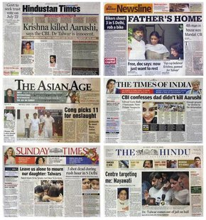 A combination photo of India newspapers shows photographs and news of 14-year-old Aarushi's murder whodunnit, in New Delhi July 14, 2008. RE