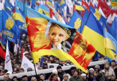 A flag with an image of Yulia Tymoshenko is carried by protesters attending a rally to support EU integration in central Kiev November 24, 2