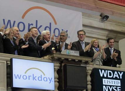 Workday Inc. Chairman, Co-Founder and Co-CEO Aneel Bhusri (center R) and Co-Founder and Co-CEO Dave Duffield (center L) ring the opening bel
