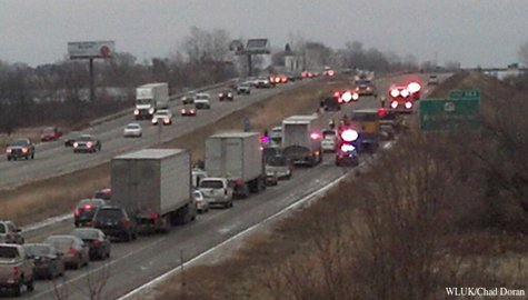 Northbound traffic on Hwy. 41 in Grand Chute backs up after a pair of crashes, Nov. 25, 2013. (Photo from: FOX 11).