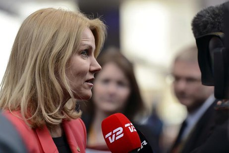Denmark's Prime Minister Helle Thorning Schmidt arrives at the European Union (EU) council headquarters for an EU leaders summit in Brussels