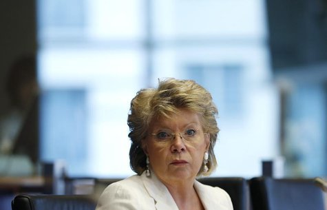 European Union Justice Commissioner Viviane Reding addresses the European Parliament's Committee on civil liberties, justice and home affair