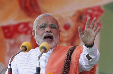 Hindu nationalist Narendra Modi, prime ministerial candidate for India's main opposition Bharatiya Janata Party (BJP), addresses a rally in