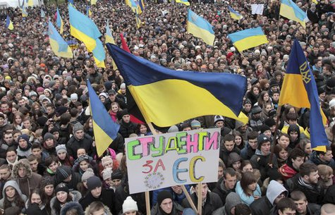 REFILE - ADDING TRANSLATION OF SIGN Students take part in a rally to support EU integration in western Ukrainian city of Lviv November 26, 2