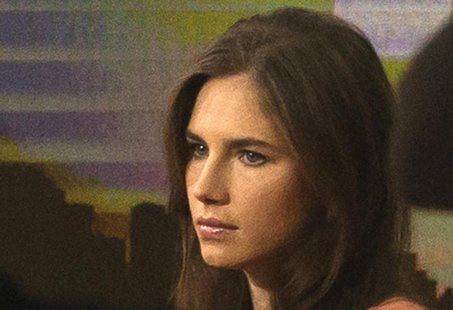 "Amanda Knox looks on before speaking on NBC News' ""Today"" show in New York September 20, 2013. REUTERS/Brendan McDermid"
