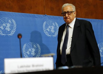 Arab League-United Nations envoy Lakhdar Brahimi arrives for a news conference on the situation in Syria at the United Nations European head