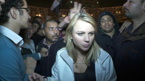 CBS Correspondent Lara Logan is pictured in Cairo's Tahrir Square moments before she was assaulted in this photograph taken on February 11,