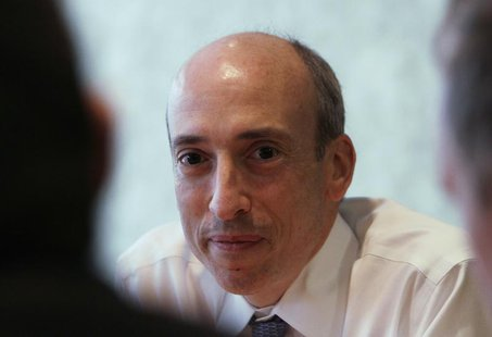Gary Gensler, chairman of the Commodity Futures Trading Commission (CFTC), listens during an interview with Reuters in London October 2, 201
