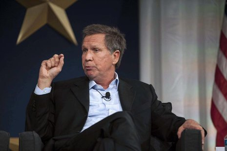 "Governor John Kasich (R-OH) responds to a topic during the plenary session entitled ""State of play - The Key to GOP Messaging in 2014"" at th"