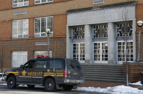 "A sheriff's vehicle sits outside of Steubenville High School after a threat that police determined was ""non-viable"" was received in Steubenv"