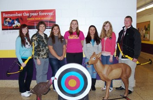 Bronson Schools Archery Program students with advisor Susan Quitter