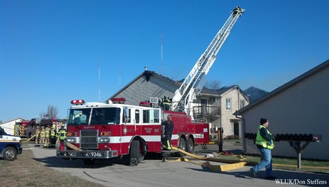 Crews battle a fire at the Shade Tree Apartments in the town of Buchanan, Nov. 26, 2013. (Photo from: FOX 11).