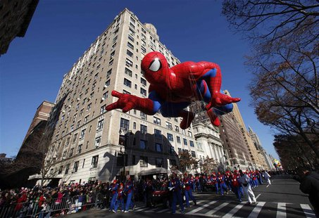 The Spiderman balloon floats down Central Park West during the 86th Macy's Thanksgiving Day Parade in New York in a November 22, 2012 file p