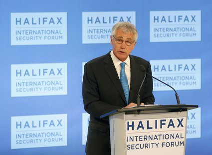 U.S. Secretary of Defense Chuck Hagel makes his address at the Halifax International Security Forum in Halifax, Nova Scotia, November 22, 20