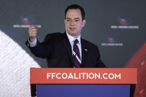 "Republican National Committee Chairman Reince Priebus addresses the Faith and Freedom Coalition ""Road to Majority"" conference in Washington"