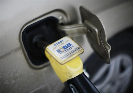E85 ethanol fuel is shown being pumped into a vehicle at a gas station selling alternative fuels in the town of Nevada, Iowa, in this Decemb