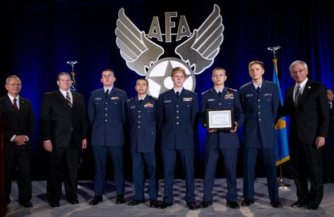 This year's the squadron's cyber-forensics team members are Cadet Captain Joshua Klosterman (Team Captain), Cadet Master Sergeant Chris Dinnel, Cadet Master Sergeant Laura Rudnik, Cadet Airman Zebadiah Nelson, Cadet Josiah Jorenby and Cadet Second Lieutenant Tyler Gross (Coach).  Photo Courtesy of AFA