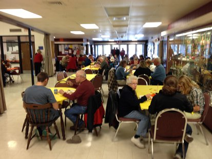 Over 200 people from Elkhart Lake-Glenbeulah High School students to their grandparents enjoy a Thanksgiving meal cooked by the school's FCCLA group.