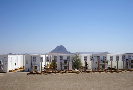 Empty trailers to house workers at the site of the gold and copper mine exploration project of Tethyan Copper Company (TCC) are seen in Reko