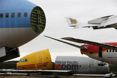 Dismantled planes are seen in the recycling yard of Air Salvage International (ASI) in Kemble, central England November 27, 2013. REUTERS/St