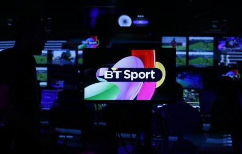 Production staff work in the gallery during the BT Sport channel launch program at the BT Sport studio in the Queen Elizabeth Olympic Park,