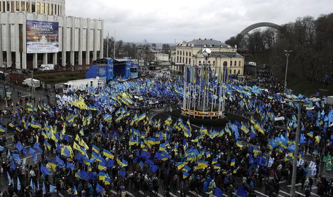 Supporters of Ukrainian President Viktor Yanukovich and the Party of the Regions participate in a demonstration at European Square in centra