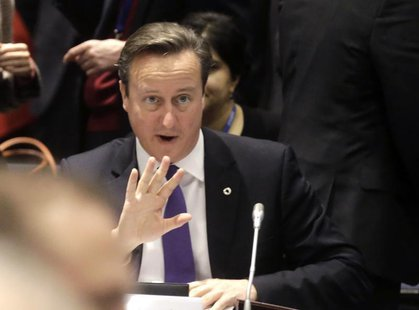 British Prime Minister David Cameron gestures during the EU Eastern Partnership summit in Vilnius November 29, 2013. REUTERS/Ints Kalnins