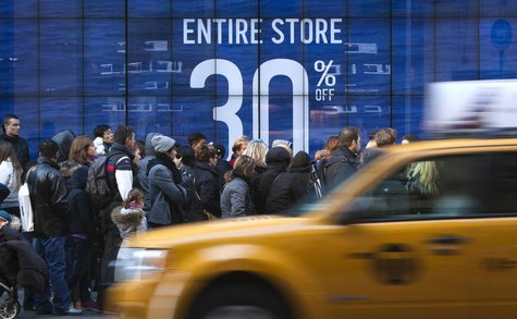People line up to get into a store on 5th Ave. looking for Black Friday sales in New York November 29, 2013. Black Friday, the day following