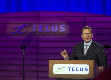 Darren Entwistle, president and chief executive officer of Telus Corporation speaks at the company's annual general meeting in Montreal, May