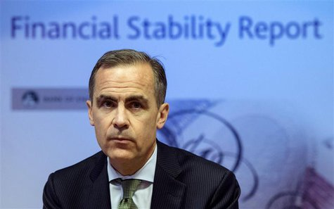 Bank of England Governor Mark Carney delivers this year's half yearly Financial Stability Report to journalists at the Bank of England in Lo