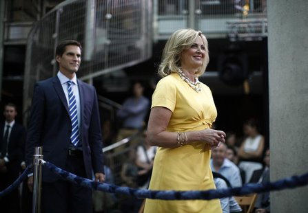 Ann Romney, wife of U.S. Republican Presidential candidate Mitt Romney, and their son Josh arrive to hear Mitt Romney deliver foreign policy