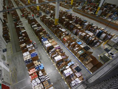 A general view of the storage hall at the 70,000 square metre warehouse floor in Amazon's new distribution center in Brieselang, near Berlin