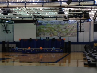 The main stage is set in Sheboygan North High School Acuity Field house for this year's Hmong New Year Celebration.