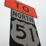 Highway 51 sign during road construction. copyright 2013 Midwest Communications, Inc.