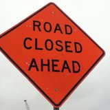 Road closed sign used during the Highway 51 construction project 4/18/2013 copyright 2013 Midwest Communications, Inc.
