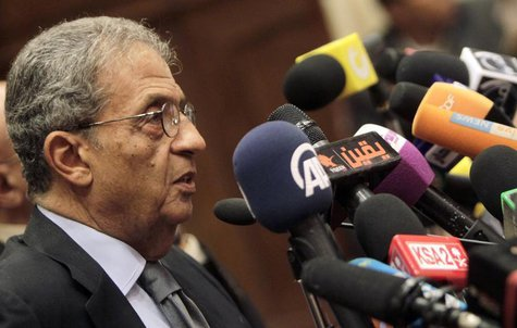 Amr Moussa, chairman of the committee to amend the country's constitution speaks at a news conference at the Shura Council in Cairo Septembe