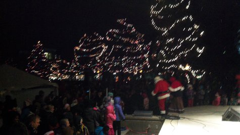 Santa and Mrs Claus head for their tent after the Lighting Ceremony