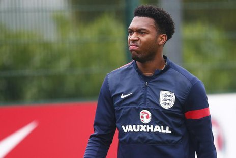 England striker Daniel Sturridge walks off the field during a team training session at Arsenal's training facility in London Colney, north o