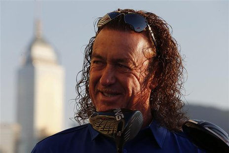 Spain's Miguel Angel Jimenez poses after being selected as the playing captain for Team Europe for the inaugural EurAsia Cup, at a news conf